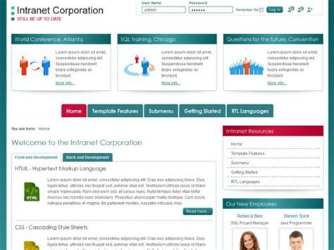 intranet portal design templates jm intranet corporation free joomla company template