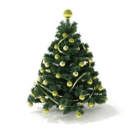 artificial christmas tree with decorations 3d model