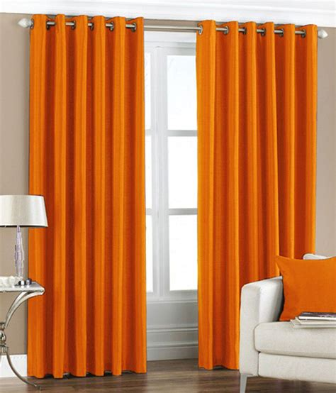 Orange Curtains pindia orange plain eyelet curtains set of 2 7ft available at snapdeal for rs 809