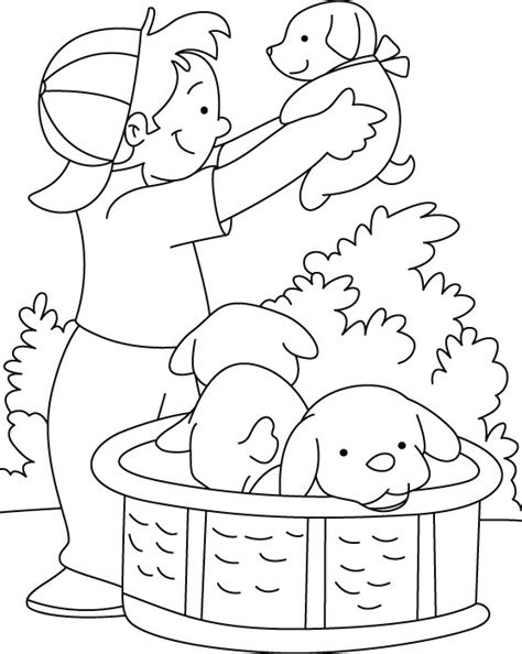puppy playing coloring page boy playing with puppy coloring page download free boy