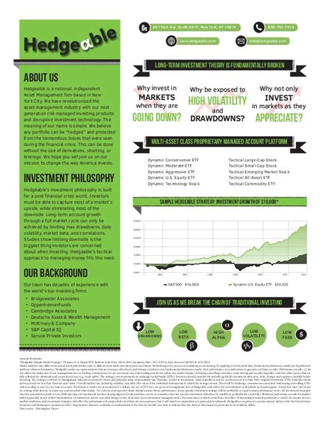 templates for one pagers hedgeable company one pager