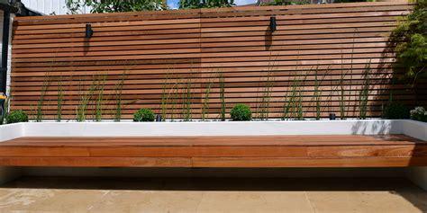 Planter Screen by Cedar Screen Raised Planter Bed Limestone Paving Hardwood Bench Clapham Garden