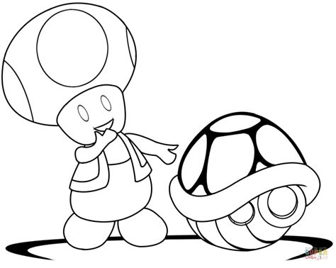 toad with green shell coloring page free printable