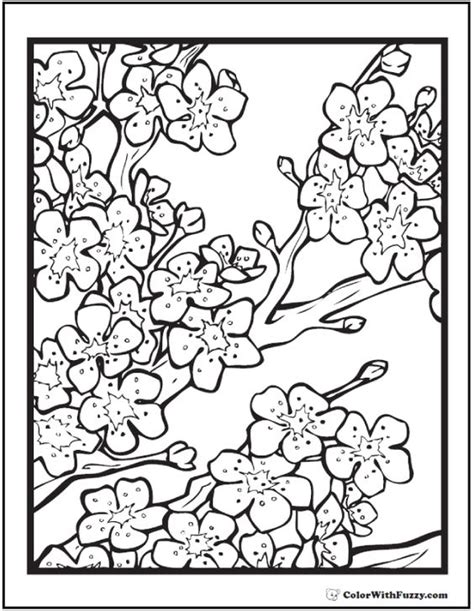 cherry blossom coloring pages what a beautiful cherry blossom coloring page for adults