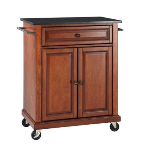 home depot kitchen island crosley 28 1 4 in w solid black granite portable kitchen island cart in cherry kf30024ech the