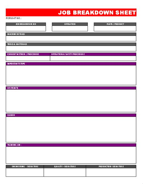 breakdown sheet template breakdown sheet