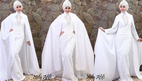Gaun Warna Putih gaun pengantin muslimah modern warna putih dengan cape