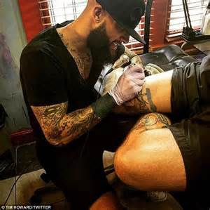 tim howard heads to the tattoo parlour again but this time
