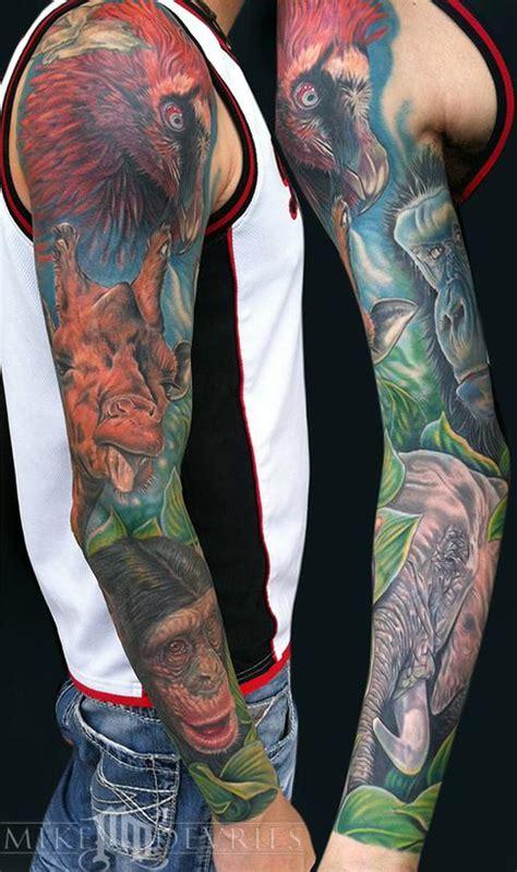 wildlife tattoo sleeve mike devries tattoos animal animal sleeve