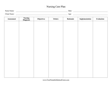 Galerry printable care plan