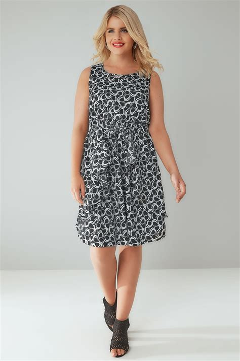 Lost My Vanilla Visa Gift Card - black white circle print sleeveless dress with peplum panels plus size 16 to 36
