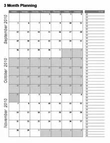 3 Month Calendar Template Excel by Printable Three Month Calendar Template 2016 Calendar