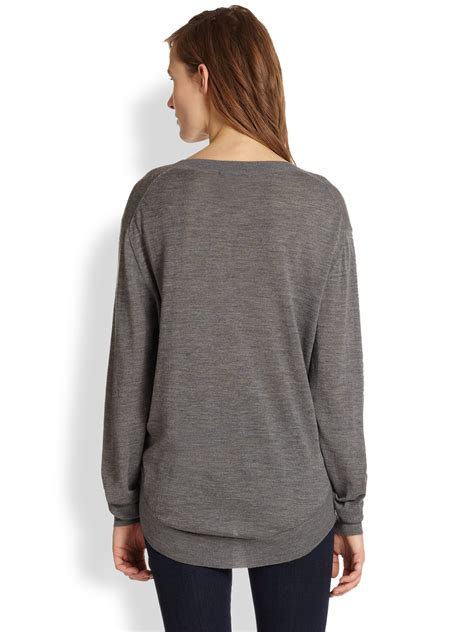 lyst markus lupfer bulldog sequined sweater in gray