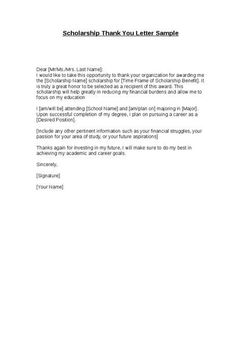 Scholarship Thank You Letter Typed Or Handwritten Scholarship Thank You Letter Sle Hashdoc
