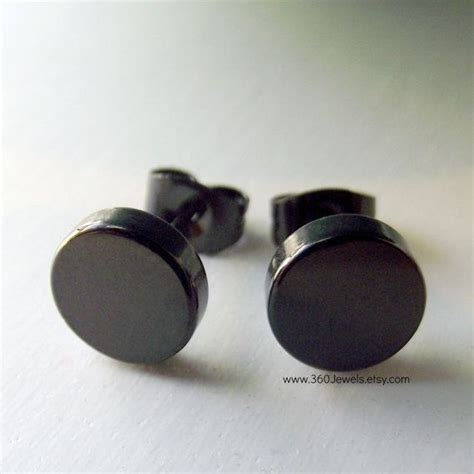mens earrings burly steel disc mens black steel stud