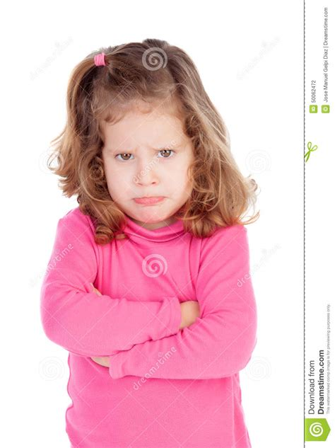 Angry Little Girl In Pink Isolated On A White Background | angry little girl in pink stock photo image 50062472