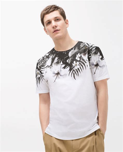 zara floral yoke t shirt in black for lyst