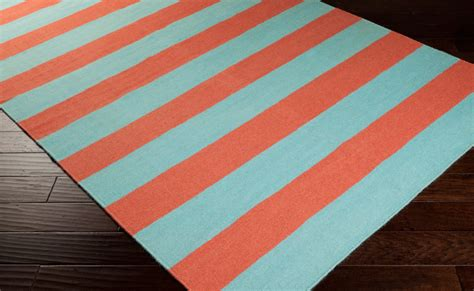 coral and turquoise rug frontier striped flat weave rug in coral and aqua by surya