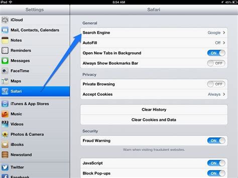 how to change the default search engine in safari on an