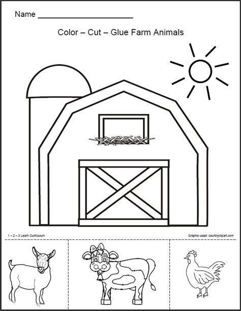 1 2 3 Learn Curriculum Barn Animals Worksheet Free Springtime Preschool Pinterest Farmer Template Preschool