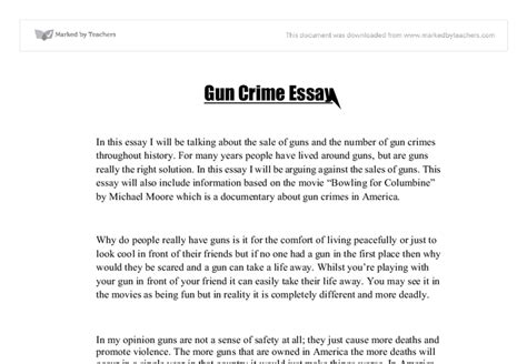 Crime And Violence Essay by Gun Crime Essay Gcse Marked By Teachers