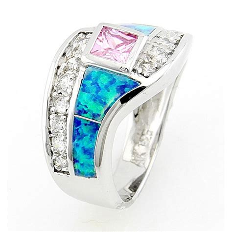 sterling silver opal inlay ring with pink cz jewelry farm