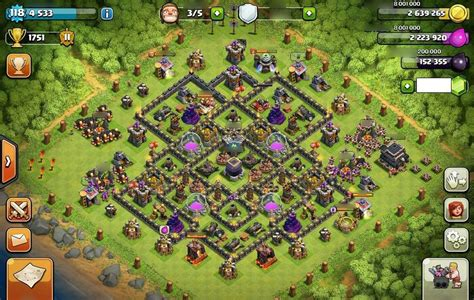 layout coc 4 mortar combinating 4 mortars perfectly th9 farming base