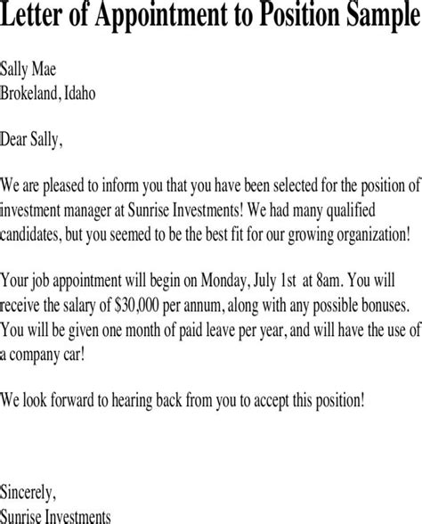 appointment letter new position letter of appointment to position sle for free