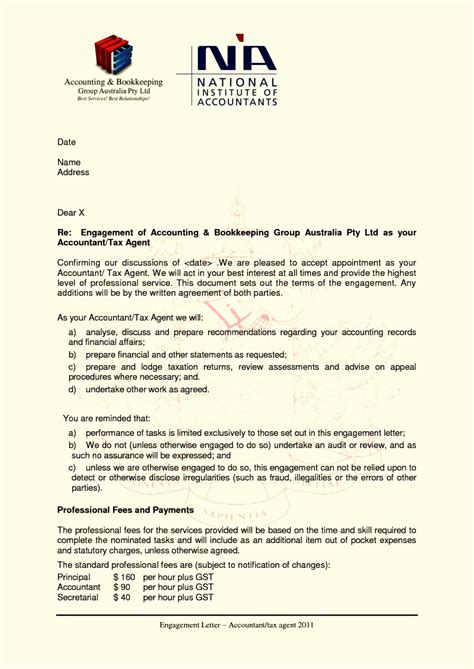 bookkeeping engagement letter template samples letter