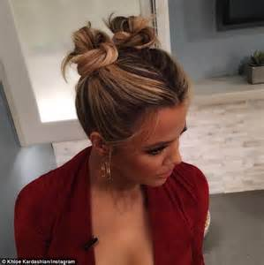 long hair buns for late 30 year old khloe kardashian shuffles into the studio in dressing gown