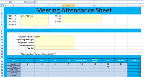 meeting attendance template get meeting attendance spreadsheet format excel