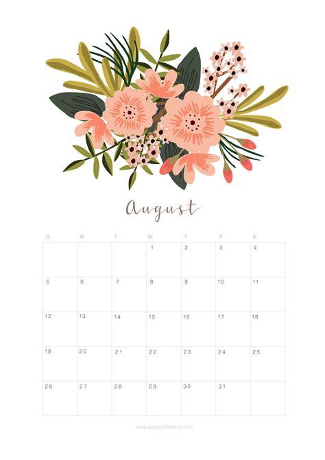 printable calendar 2018 flowers printable august 2018 calendar monthly planner flower