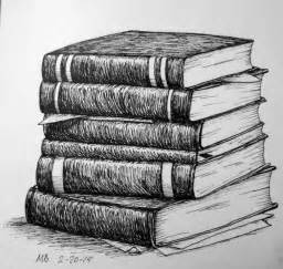 book sketch your world stack of books pencil drawing search still