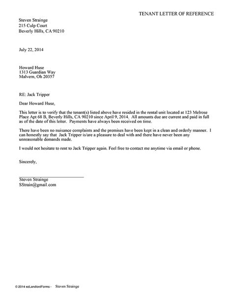 Reference Letter From Landlord Tenant Reference Letter Ez Landlord Forms