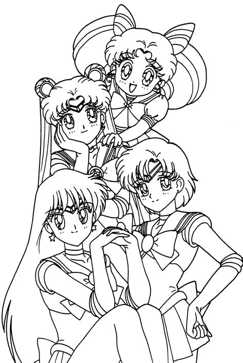 anime girl group coloring pages