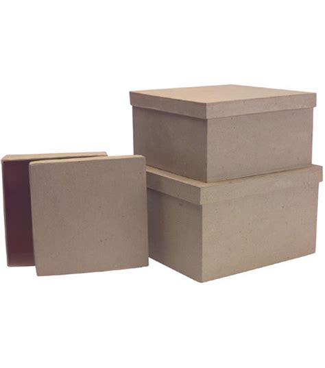 Paper Mache Boxes How To Make - paper mache box set 3pk square jo