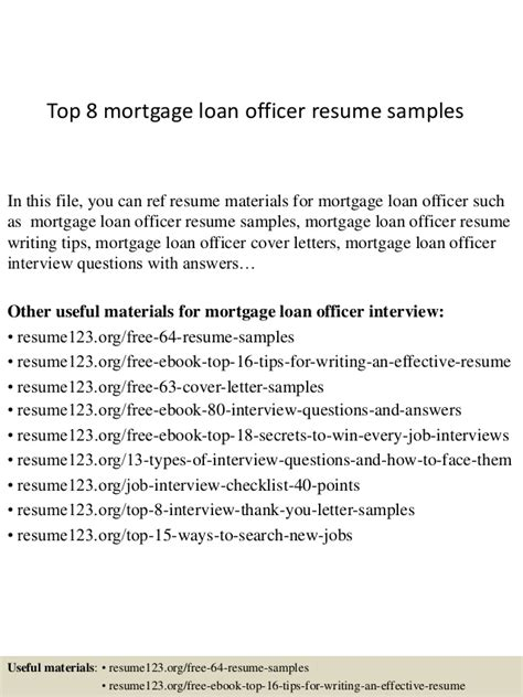 top 8 mortgage loan officer resume sles
