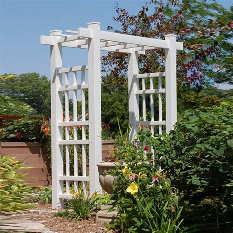 Garden Arbor With Gate White Shop Dura Trel 72 In W X 85 In H White Garden Arbor At