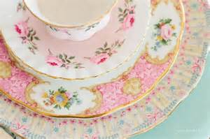 shabby chic dinnerware vintage china plates tea cup tea time
