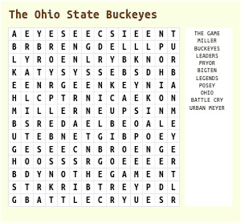 Ohio State Search San Diego Padres Word Search
