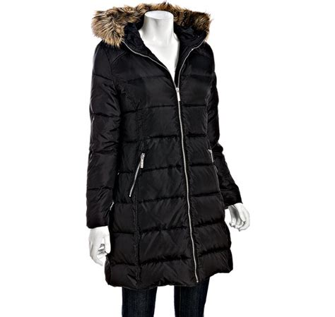 Michael Michael Kors Faux Fur Trim Quilted Coat by Michael Michael Kors Black Quilted Faux Fur Trim Hooded
