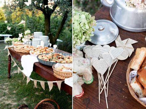 pretty outdoor buffet display on wood table with burlap