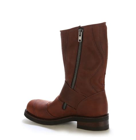 zip up leather motorbike boots harley style brown