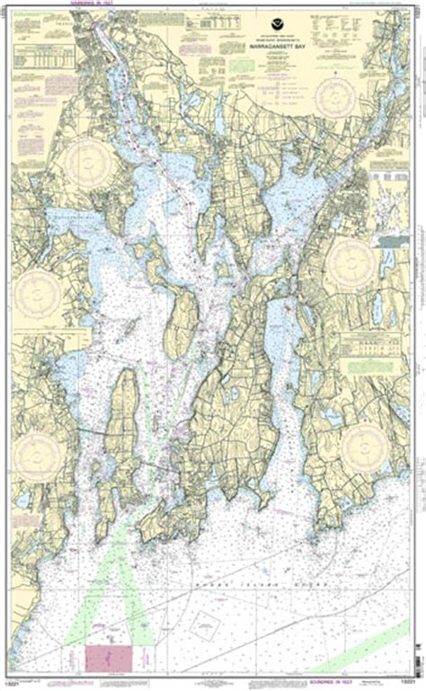Small Island For Kitchen Narragansett Bay Noaa Framed Chart 13221