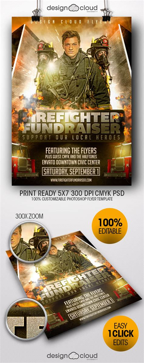 Fire Fighter Fundraiser Flyer Template On Behance Fundraiser Flyer Templates Photoshop