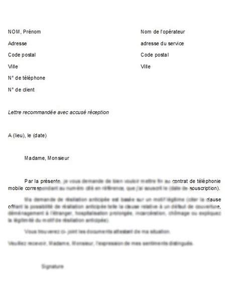 Lettre De Résiliation Mobile La Poste sle cover letter modele de lettre de resiliation de