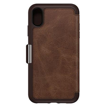 otterbox strada folio iphone xr leather wallet case espresso