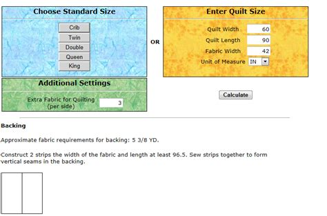 Quilt Backing Fabric Calculator by Mywebquilter Quilt Backing Calculator Update