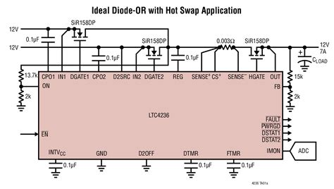 ideal schottky diode ltc4236 dual ideal diode or and single controller with current monitor linear