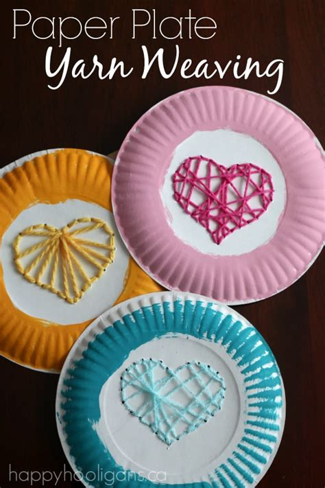 crafts using paper plates paper plate yarn weaving sewing hearts happy hooligans
